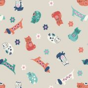 Lewis & Irene Sam & Mitzi - 4239 - Sam & Mitzi, Multicoloured Cats & Dogs on Stone - A108.1 - Cotton Fabric